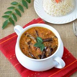 Eggplant curry with coconut milk. Vegan recipe