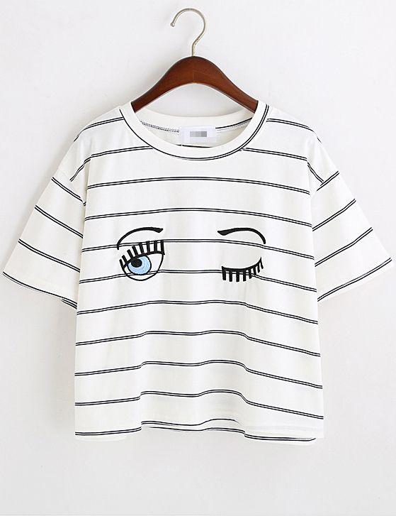 Navy White Eyes Print Striped Crop T-Shirt -SheIn(abaday)