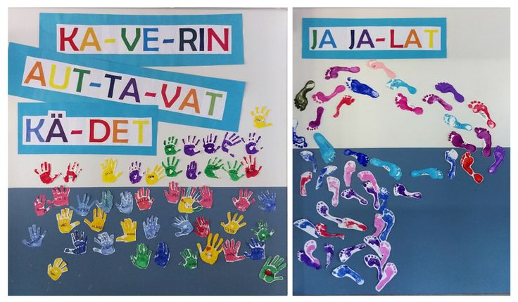 KiVa Koulu - kaverin auttavat kädet ja jalat. Koko koulun kollaasi, eskarit-2. lk tekevät kädet, 3.-6. lk jalat.