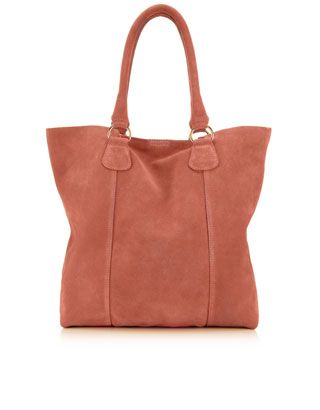 Luna Suede Raw Edged Shopper | Pink | Monsoon