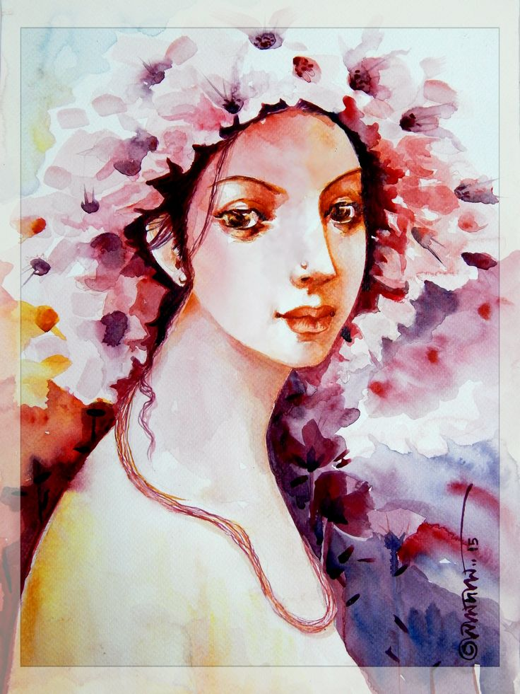 "My Watercolor Painting ""WOMEN IN SPRING"""