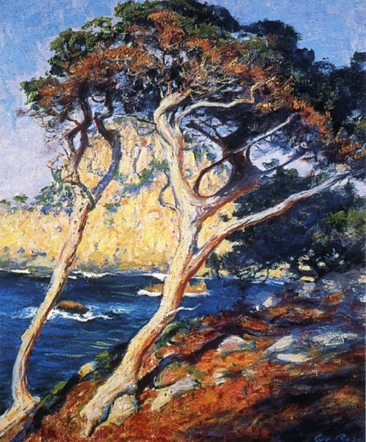 Guy Rose, Point Lobos Trees 1919, reminds me of Varley's, Stormy Weather!