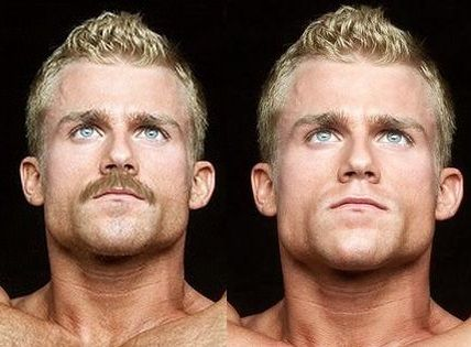 Eli Blahut Left: with moustache photoshopped on. Right: the way normally looks. Left picture looks so mucher better.