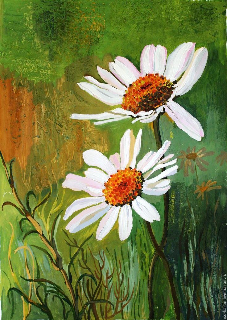 Купить Картина гуашью. Ром и Ромашка - желтый, цветы, ромашки, ромашки гуашью…