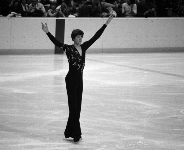 Robin Cousins from Team GB, winner of the gold medal in the men's figure skating event, at the Winter Olympics held in Lake Placid, 1980.