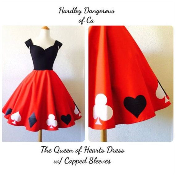The Queen of HEARTS Swing Dress Set Handmade by by MoonbootStudios