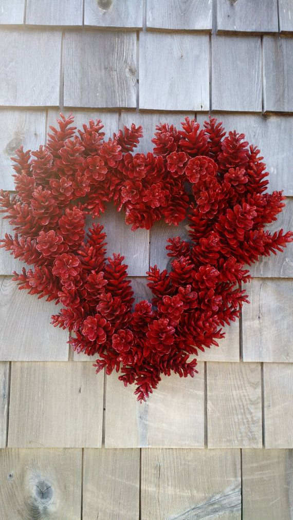 Valentines Wreath Love Wreath Red Heart Pinecone di scarletsmile