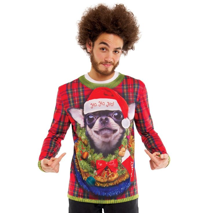 Halloween Men's Big Dog Ugly Christmas Sweater Costume, Long Sleeve T-Shirt - XX-Large, Size: Xxl, Multicolored