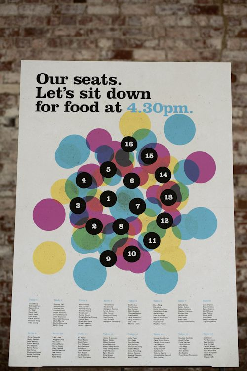 seating chart. Very cool graphically plus I love telling everyone what time dinner will be served