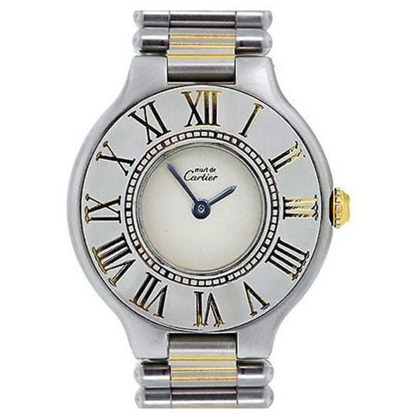 Pre-Owned Cartier Must De 21 Two Tone Quartz Ladies Watch ($1,595) ❤ liked on Polyvore featuring jewelry, watches, multi, dial watches, pre owned watches, white dial watches, roman numeral watches and butterfly jewelry