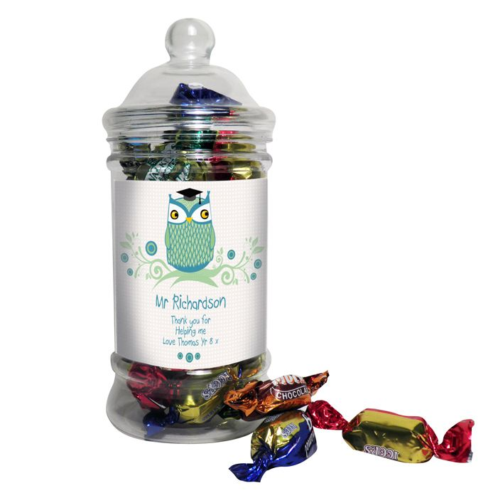 This classic shaped sweet jar is filled with delicious toffees and soft centres, a great gift for your teacher!  Personalise this funky owl design with any name up to 15 characters and a message over 3 lines, up to 20 characters per line.  Sweet Jars and Content weigh a total of 250g  Sweet Jar is plastic with plastic screw top.  Sweets are an assortment of toffees.  May Contain Nuts.  Not suitable for children under 36 months.