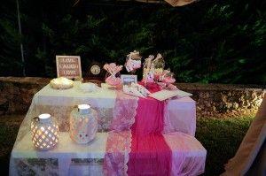 Cute and Yummy Girl Christening Dessert Table - Pink and Cream - White Lantern Decor - Location Ktima Tritsimpida Greece - Summer Night - Photography Con Tsioukis - ICON PHOTOGRAPHY MELBOURNE - www.iconphotos.com.au