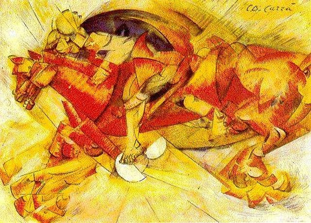 Carlo Carra, 'The Red Horseman', 1913. The Futurists loved speed! #fantastic