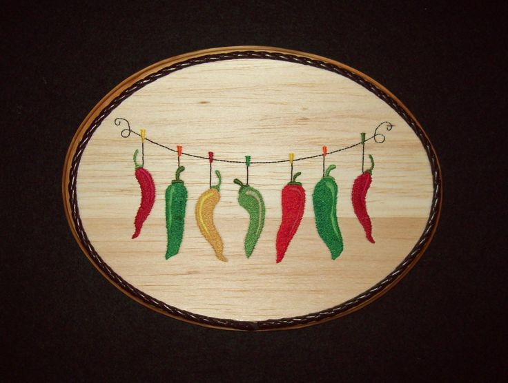 Chili Pepper Clothesline Southwestern Kitchen Decor/Embroidery on Balsa Wood by WitchezStitchez on Etsy