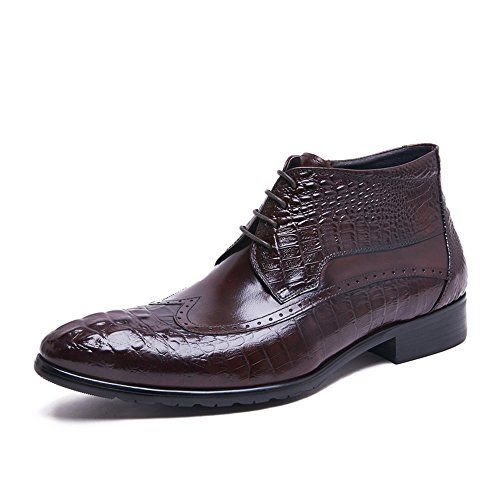 Zorgen Crocodile Pattern Genuine Leather Lacing-up Men's…