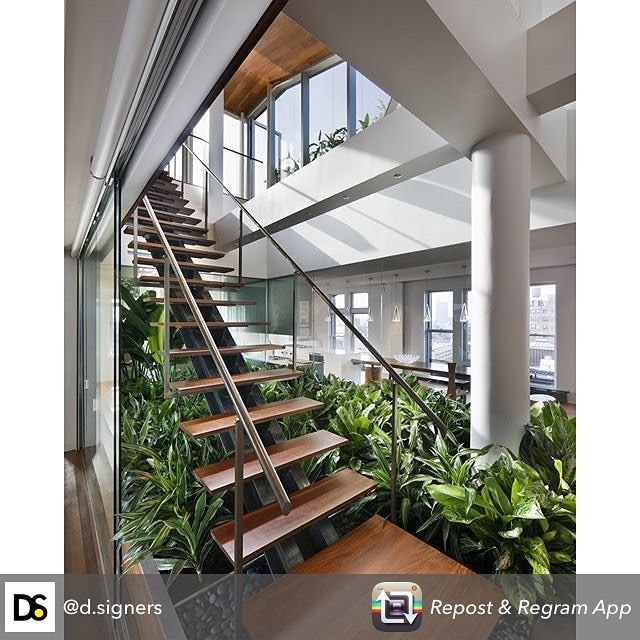 We love this Broadway #Penthouse in #NY designed by Joel Sanders #Architect / Photo by Peter Aaron #d_signers  #design #modern #nature #glass #stairs #interiordesign #designer #architect #archidaily #interior #timber #geometric #archlovers #renovation #diy