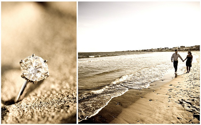 Ah, a m a z i n g. I'd love to have an engagement at my most favorite place in the world, the beach, and I think that is such a neat idea for pictures to place a ring in the sand, but instead of it being a circle diamond ring, I want it squared : )