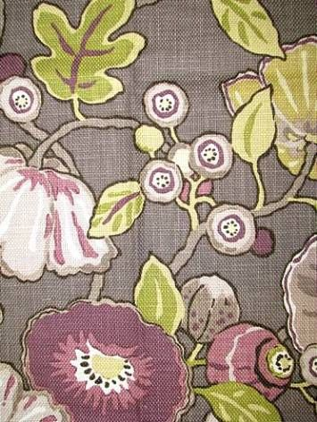 "$29 / yd Hip Berry 100% cotton washed heavy slubby basket floral print. P. Kaufmann Fabric. 27"" repeat. 54"" wide"