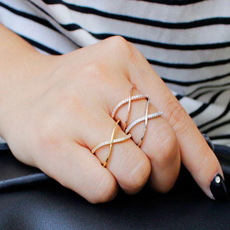 ZOSHI Latest Design Brand Ring Gold Plated Rhinestone Austrian Crystal Luxury Cross Ring For Women Wedding Jewelry