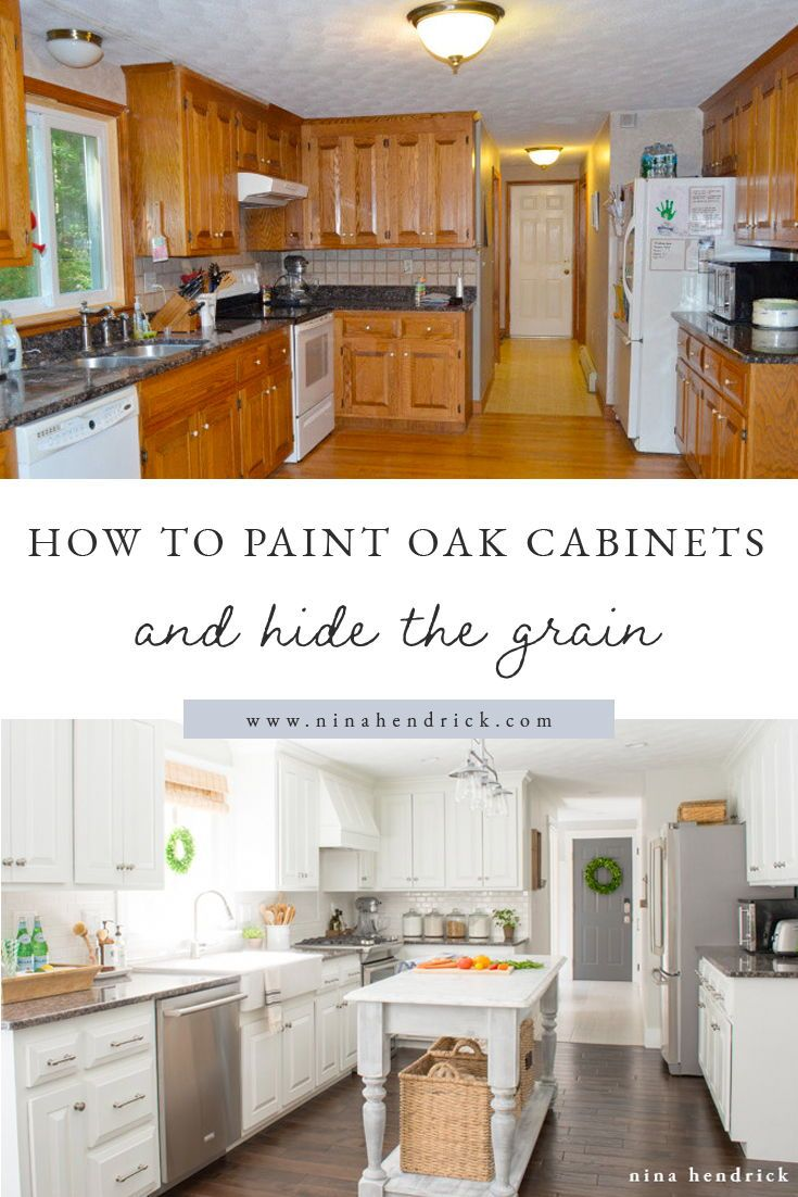 How to Paint Oak Cabinets and Hide the Grain   Painting ...