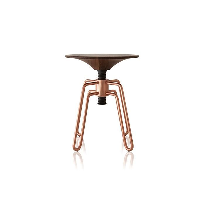 Brass, copper, stainless steel or painted carbon steel structure. MDF, composite wood or solid wood top. With height adjustment.