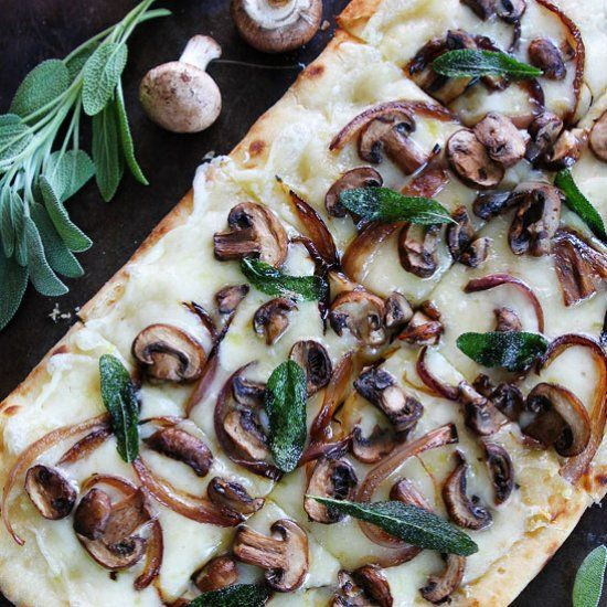 Mushroom Fontina Flatbread with Crispy Sage-this cheesy flatbread is full of flavor and great served as an appetizer or simple meal.