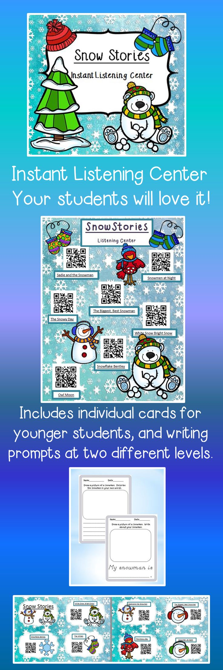 Just print this sheet and put it in your listening center.  Your students use an i-pod, i-pad, or other device to scan the QR codes.  This product also contains a writing activity.  Makes setting up your centers easy and fun for your students!  $3