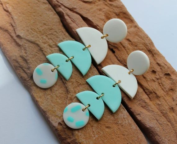Polymer Clay Earrings Modern Design Dangles White Turquoise Earrings Minimalist Hoop Earri In 2020 Clay Earrings Polymer Clay Beads Clay Beads