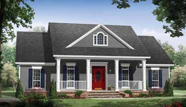 Small Country Home with Large Porches (HWBDO69623) | Country House Plan from BuilderHousePlans.com