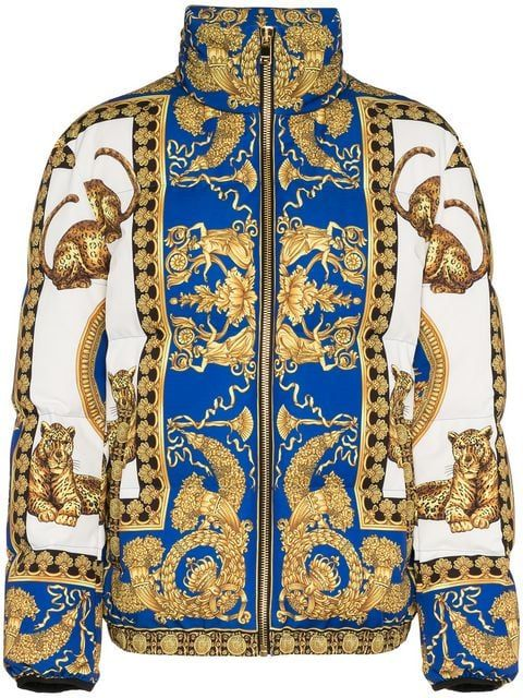 8c8eed49e69c Shop Versace Signature Dea feather down puffer jacket | FARFETCH Shop in  2019 | Puffer jackets, Jackets, Designer jackets for men