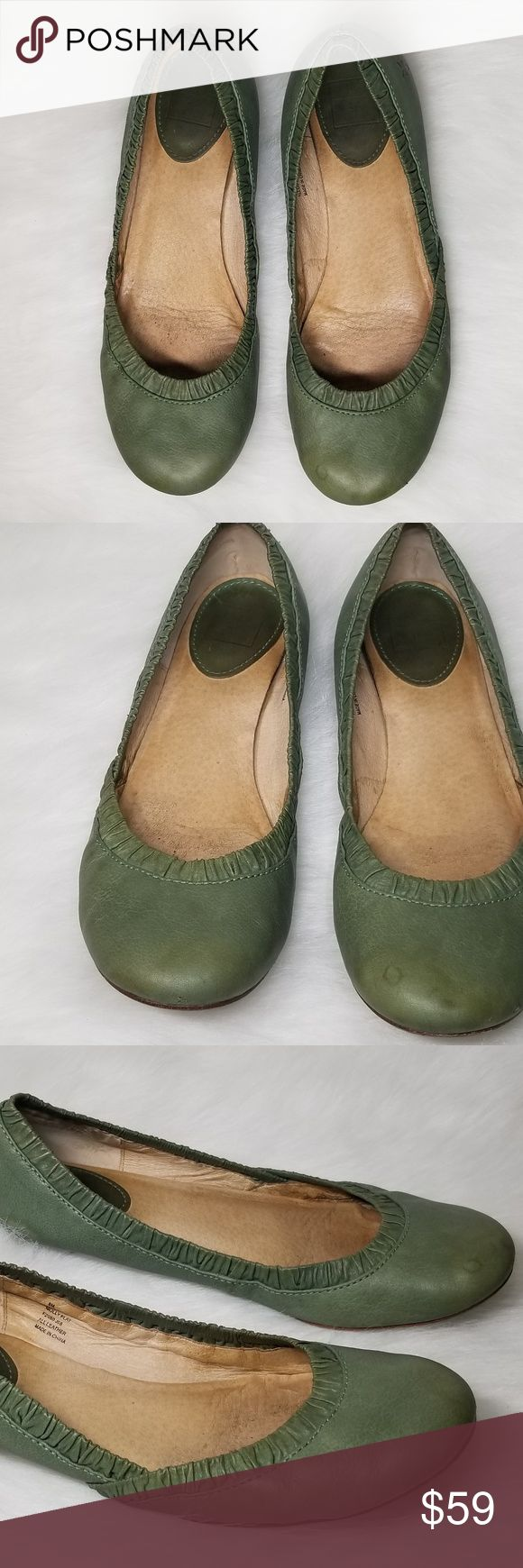FRYE Molly Green Ballet Flats Leather Shoes Sz 8 Up for sale FRYE Molly Green Ballet Flats Leather Shoes.Flats does have minor flaws and scrathes from normal wear...please view pictures before making purchase.   Sz 8  Color-Soft Green   Material-Leather Frye Shoes Flats & Loafers
