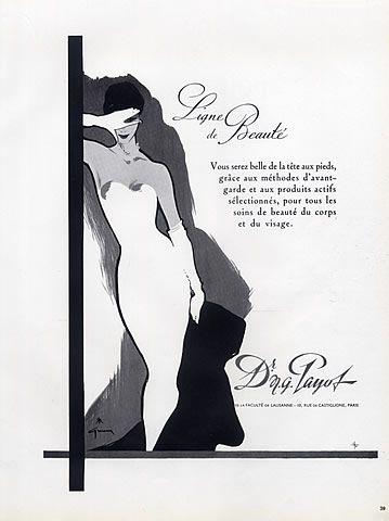 Payot, Dr N.G. (Cosmetics) 1958 Ligne de Beauté, René Gruau Vintage advert Cosmetics illustrated by René Gruau | Hprints.com