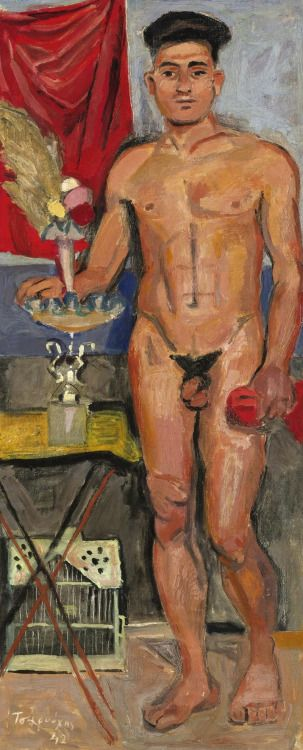 Yannis Tsarouchis (Greek, 1910-1989), Standing nude, 1942. Oil on canvas, 52 x 23 cm.