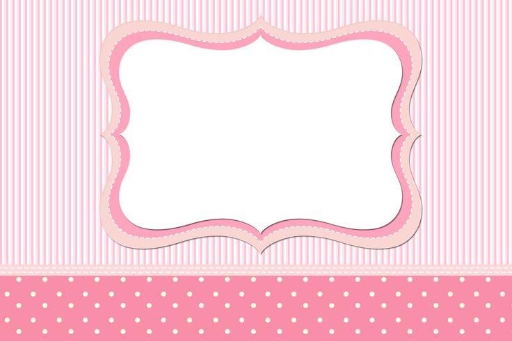 Moldura Convite e Cartão Listrado e Poá Rosa: