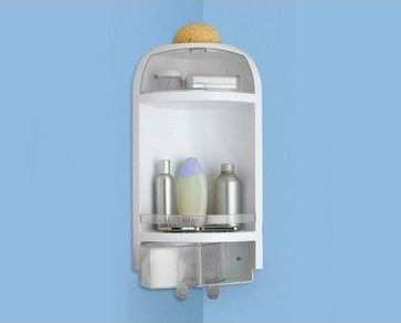 Corner Shower Caddy With Drawer In White and Transparent Finish contemporary shower caddies  #Luxury #Spa #Robe #Plush #pamper #bath #towels