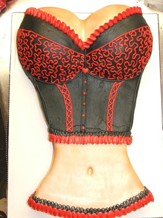 Bustier corset lingerie cake by Cake & All Things Yummy in Kernersville, NC  Cute for bachelor parties or lingerie showers!