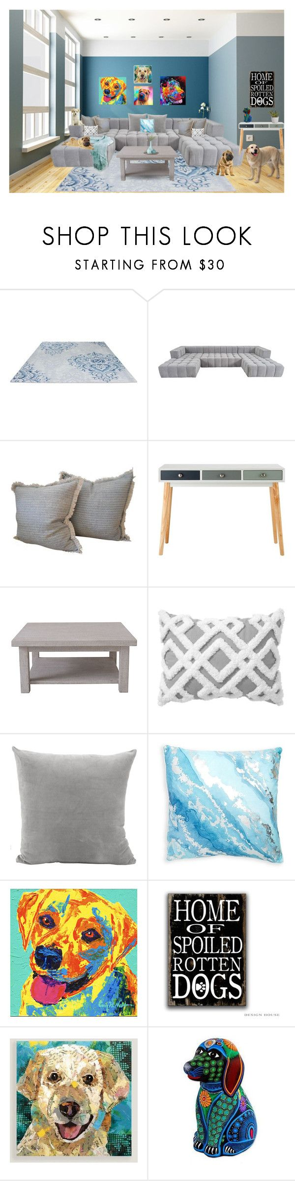 """""""Dogs always welcome"""" by rachelbarkho ❤ liked on Polyvore featuring interior, interiors, interior design, home, home decor, interior decorating, Rachel Ashwell, PBteen, Thro and Cost Plus World Market"""