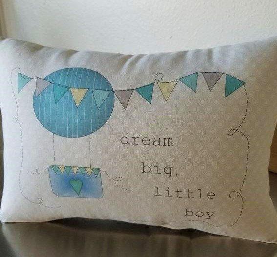 Nursery pillow for boy, hot air balloon