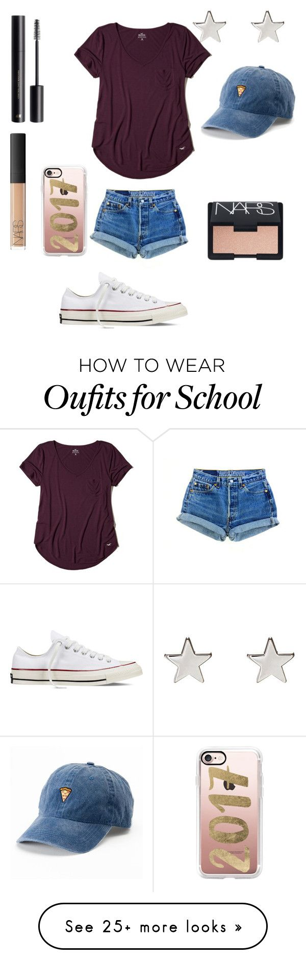 """""""simplicity"""" by milarico on Polyvore featuring Hollister Co., Converse, SO, H&M, NARS Cosmetics, Jennifer Meyer Jewelry and Casetify"""