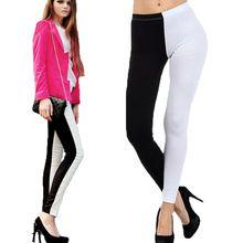 2015 Новый стиль женские леггинсы спортивная одежда фитнес леггинсы черный и белый лоскутная Jeggings тренировки Legins тонкий карандаш брюки(China (Mainland))