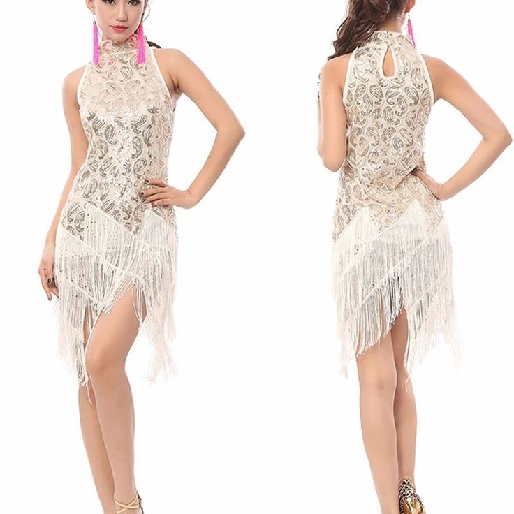 Women latin #dance #costume sleeveless sequins tassel ballroom #dress #costume uk,  View more on the LINK: 	http://www.zeppy.io/product/gb/2/262358923978/