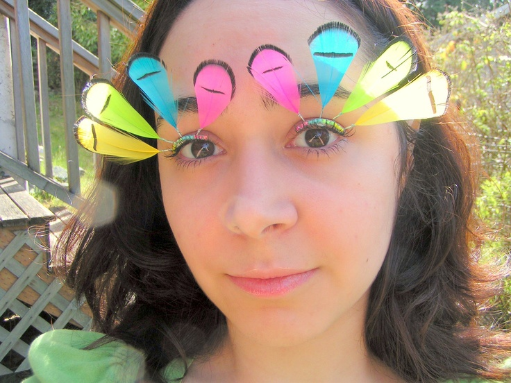 Neon Rainbow Feather Eyelash Jewelry