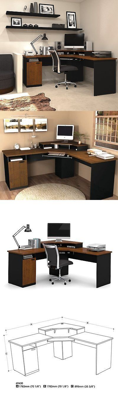 Office Furniture: Bestar Hampton Corner Workstation In Tuscany Brown And Black Finish 69430-4163 New BUY IT NOW ONLY: $372.65