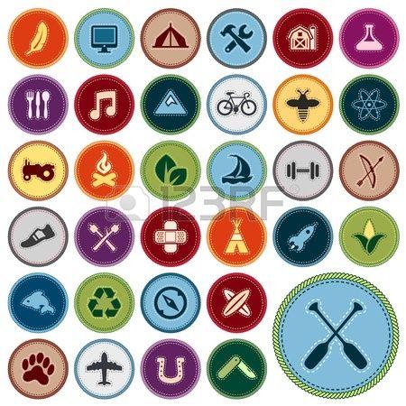 Set de badges de m rite scout pour les activit s ext rieures et universitaires Banque d'images