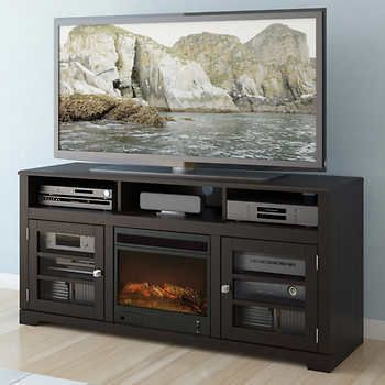 Mink Black 60-in. Television Stand with Electric Fireplace