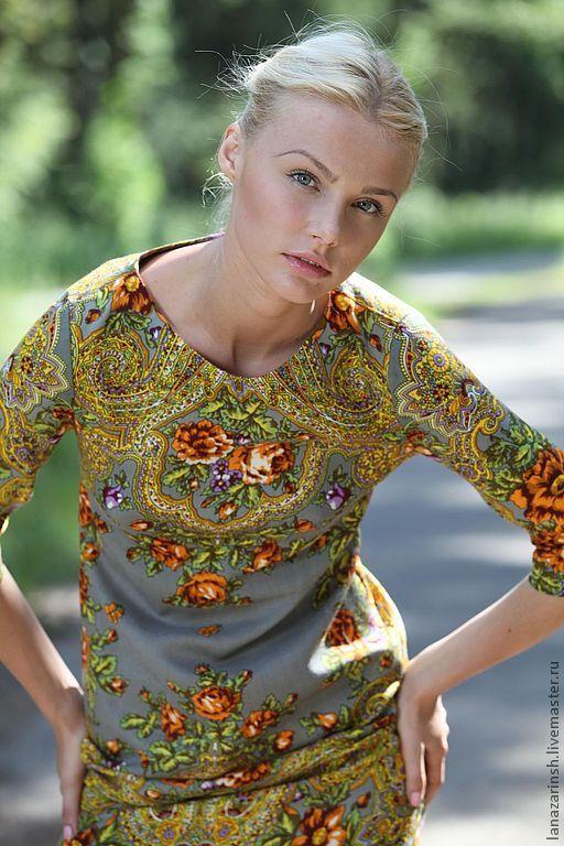 """Купить Платье """" Капучино"""" - коричневый, орнамент, оригинальное украшение, авторская работа, аля рус"""