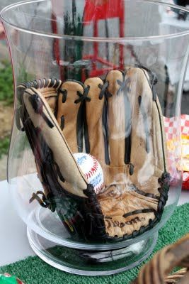 Hey Batter Batter! First Birthday Party (Like the glove centerpiece idea)