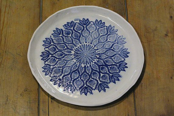 beautiful off-white and azurite blue serving plate