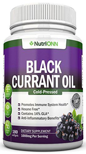 Black Currant Oil - 1000 Mg - 180 Softgels - Cold-Pressed Pure Black Currant Seed Oil - Hexane Free - 140mg GLA Per Serving - Regulates Hormonal Balance - Great For Immune System, Hair, Skin and Heart >>> To view further for this item, visit the image link.