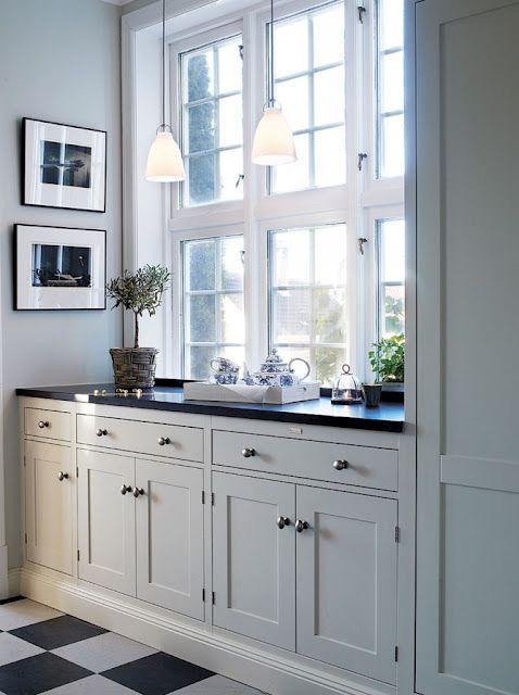 White kitchen black and white tiled floor soft gray for Black kitchen cabinets online